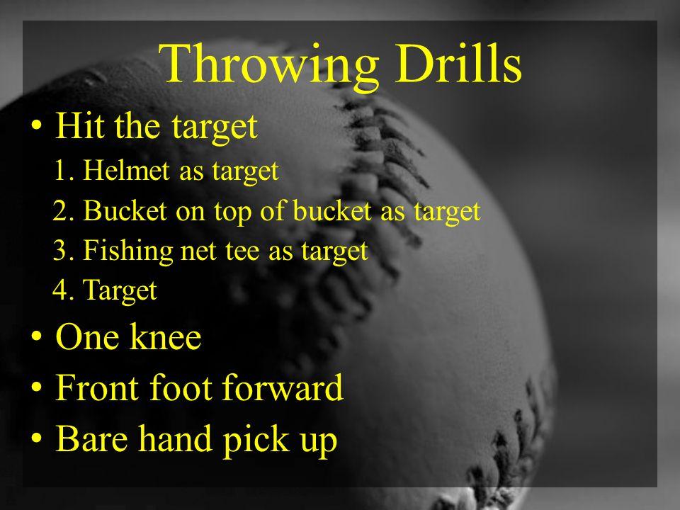 Throwing Drills Hit the target 1. Helmet as target 2.