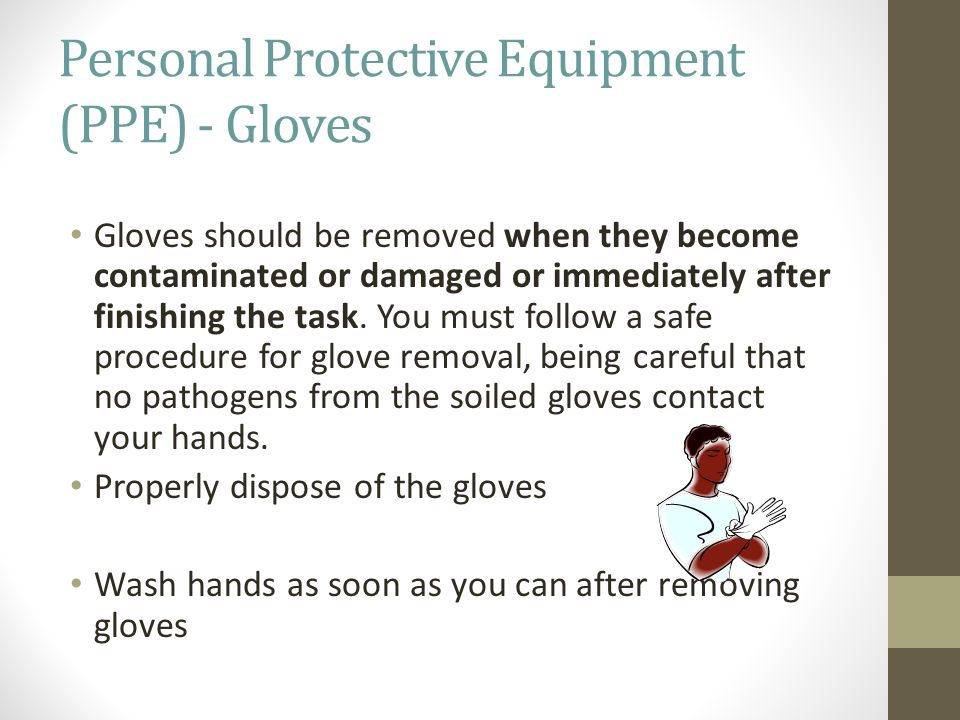 Personal Protective Equipment (PPE) - Gloves Gloves should be removed when they become contaminated or damaged or immediately after finishing the task.