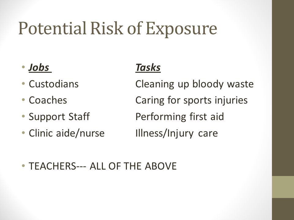 Potential Risk of Exposure Jobs Tasks CustodiansCleaning up bloody waste Coaches Caring for sports injuries Support StaffPerforming first aid Clinic aide/nurseIllness/Injury care TEACHERS--- ALL OF THE ABOVE
