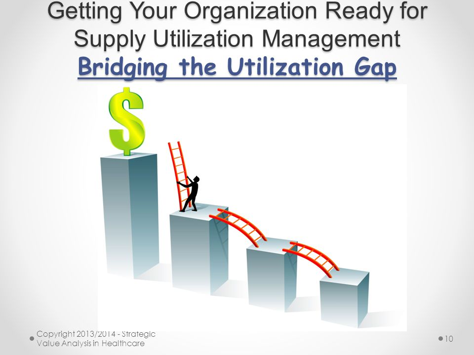 Getting Your Organization Ready for Supply Utilization Management Bridging the Utilization Gap Copyright 2013/2014 - Strategic Value Analysis in Healt