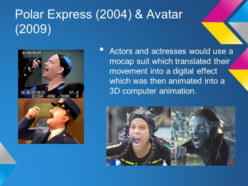 Polar Express (2004) & Avatar (2009) Actors and actresses would use a mocap suit which translated their movement into a digital effect which was then animated into a 3D computer animation.