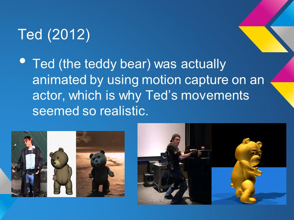 Ted (2012) Ted (the teddy bear) was actually animated by using motion capture on an actor, which is why Ted's movements seemed so realistic.