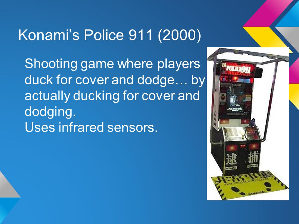 Konami's Police 911 (2000) Shooting game where players duck for cover and dodge… by actually ducking for cover and dodging.