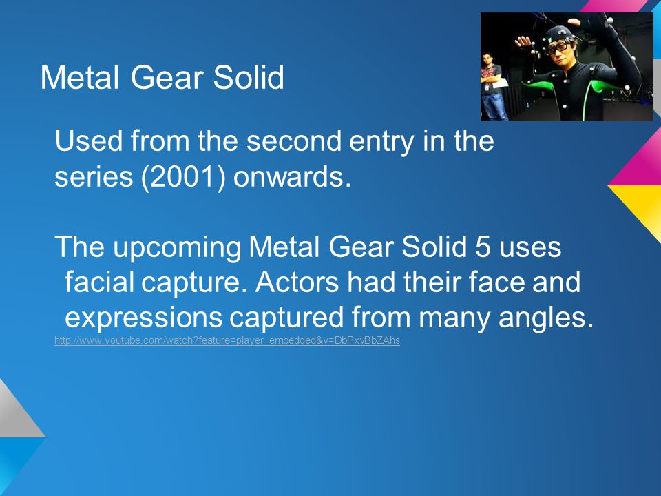 Metal Gear Solid Used from the second entry in the series (2001) onwards.