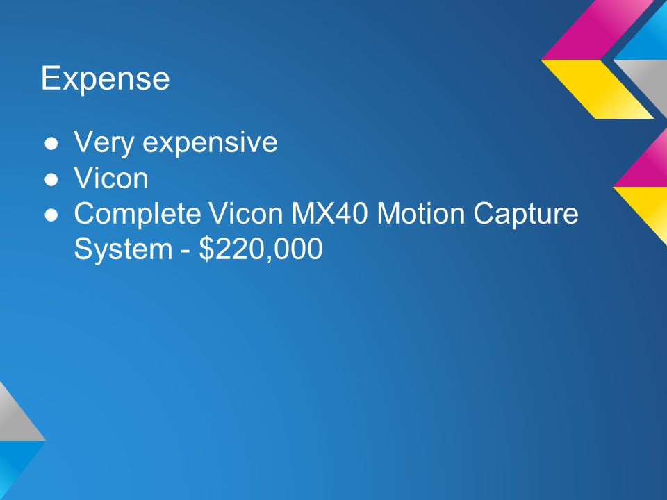 Expense ●Very expensive ●Vicon ●Complete Vicon MX40 Motion Capture System - $220,000