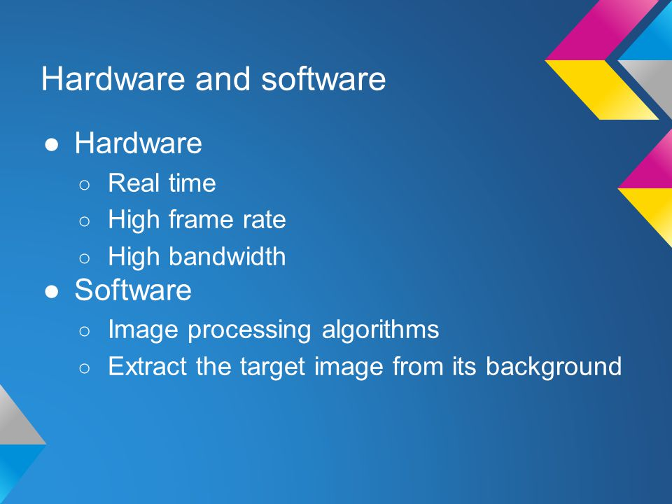Hardware and software ●Hardware ○ Real time ○ High frame rate ○ High bandwidth ●Software ○ Image processing algorithms ○ Extract the target image from its background