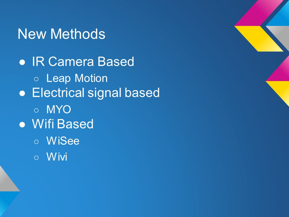 New Methods ●IR Camera Based ○ Leap Motion ●Electrical signal based ○ MYO ●Wifi Based ○ WiSee ○ Wivi