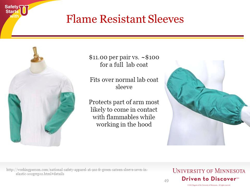 Flame Resistant Sleeves 49 http://workingperson.com/national-safety-apparel-16-9oz-fr-green-sateen-sleeve-sewn-in- elastic-s02grrg02.html#details $11.00 per pair vs.