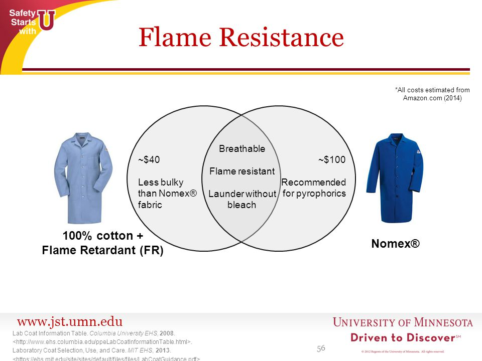 www.jst.umn.edu Flame Resistance 56 Lab Coat Information Table.