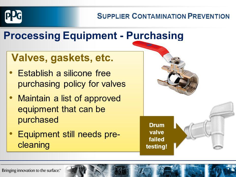 Processing Equipment - Purchasing Drum valve failed testing! S UPPLIER C ONTAMINATION P REVENTION