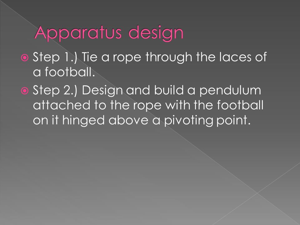 Step 1.) Tie a rope through the laces of a football.