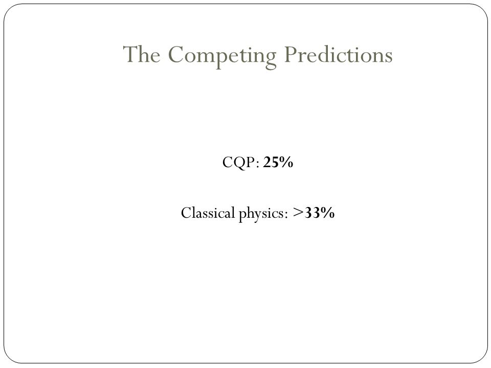 The Competing Predictions CQP: 25% Classical physics: >33%