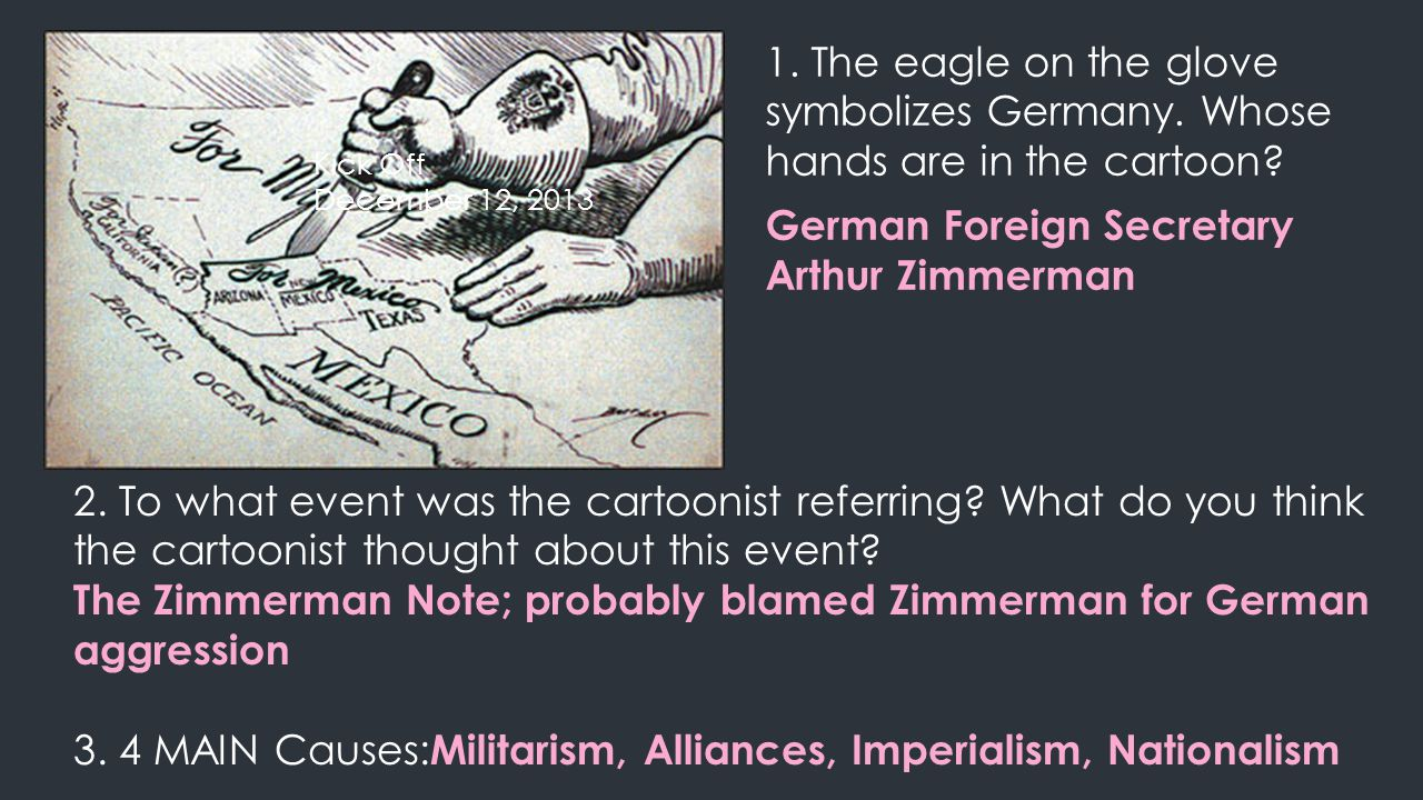 1.The eagle on the glove symbolizes Germany. Whose hands are in the cartoon.