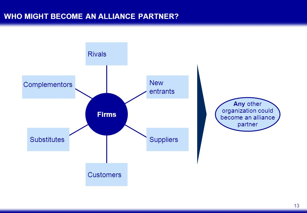 13 WHO MIGHT BECOME AN ALLIANCE PARTNER.