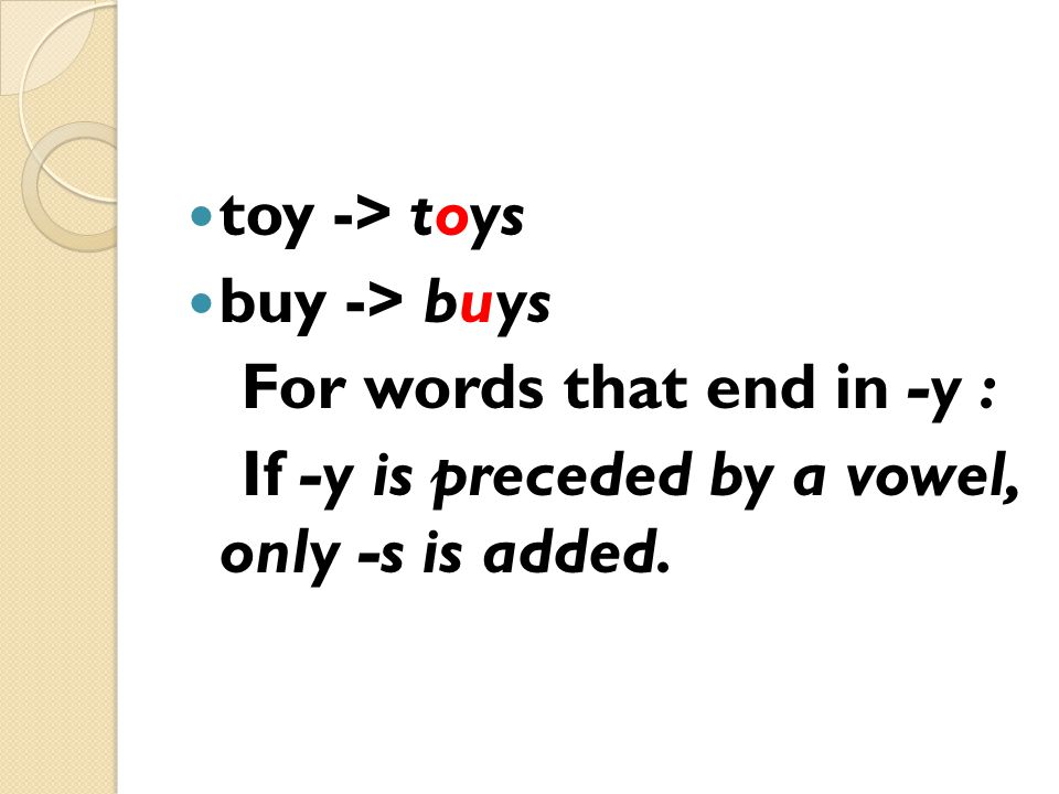 toy -> toys buy -> buys For words that end in -y : If -y is preceded by a vowel, only -s is added.