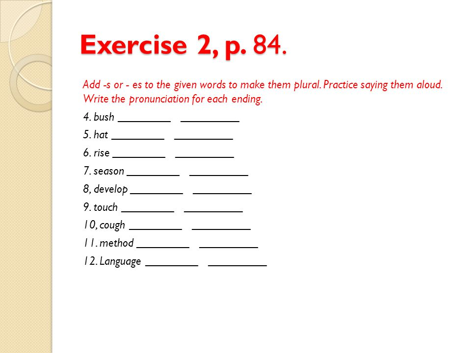 Exercise 2, p. 84. Add -s or - es to the given words to make them plural. Practice saying them aloud. Write the pronunciation for each ending. 4. bush
