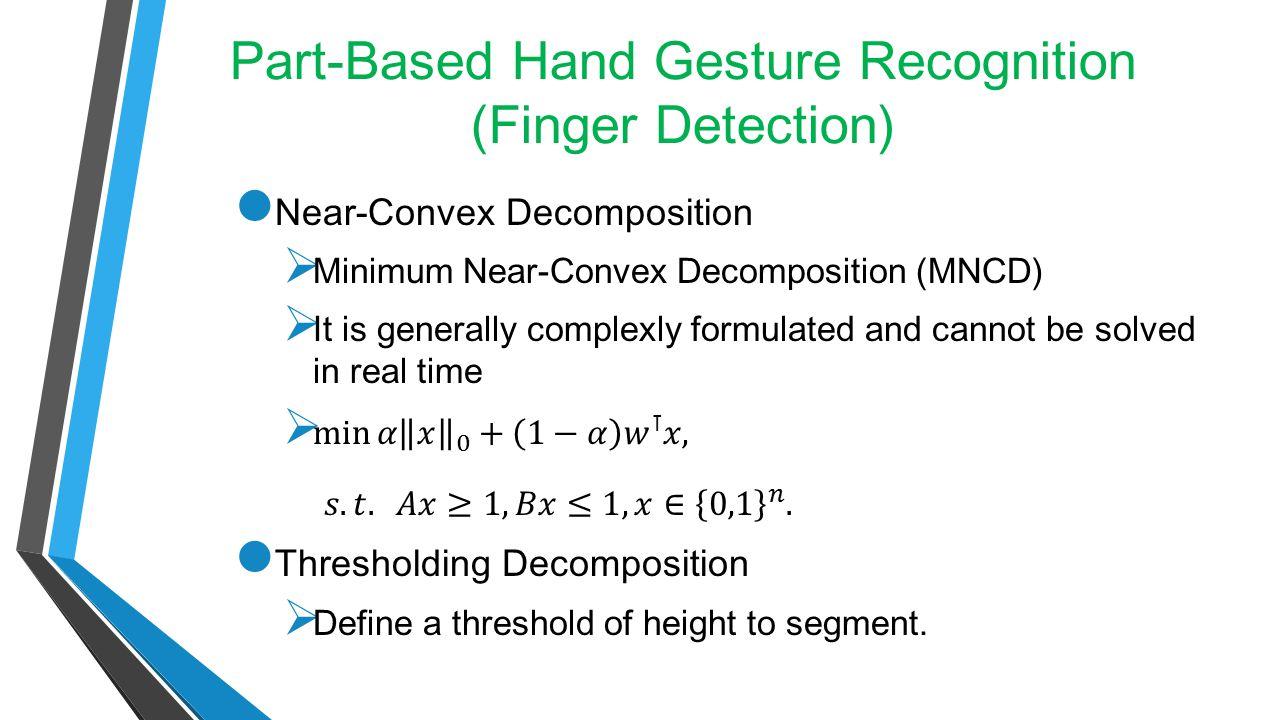 Part-Based Hand Gesture Recognition (Finger Detection Cont.) Near-Convex Decomposition Thresholding Decomposition