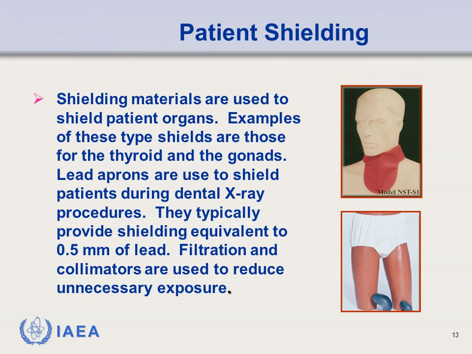 IAEA .  Shielding materials are used to shield patient organs.