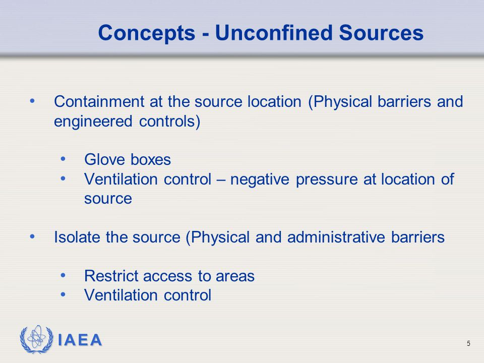 IAEA Contamination Control It is preferable to control the use of materials by restricting access and developing and implementing appropriate procedures which includes personnel training.