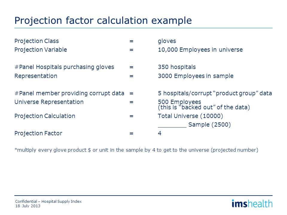 Projection factor calculation example Projection Class=gloves Projection Variable=10,000 Employees in universe #Panel Hospitals purchasing gloves =350 hospitals Representation=3000 Employees in sample #Panel member providing corrupt data=5 hospitals/corrupt product group data Universe Representation=500 Employees (this is backed out of the data) Projection Calculation=Total Universe (10000) ________ Sample (2500) Projection Factor =4 *multiply every glove product $ or unit in the sample by 4 to get to the universe (projected number) July 2013 Confidential – Hospital Supply Index 18