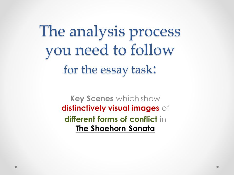 The analysis process you need to follow for the essay task : Key Scenes which show distinctively visual images of different forms of conflict in The S