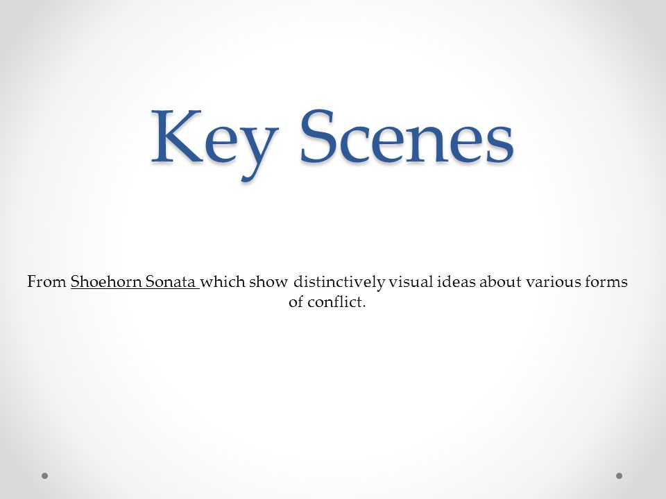 Key Scenes From Shoehorn Sonata which show distinctively visual ideas about various forms of conflict.