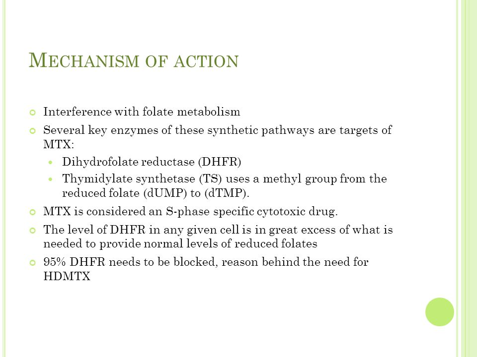 M ECHANISM OF ACTION Interference with folate metabolism Several key enzymes of these synthetic pathways are targets of MTX: Dihydrofolate reductase (DHFR) Thymidylate synthetase (TS) uses a methyl group from the reduced folate (dUMP) to (dTMP).