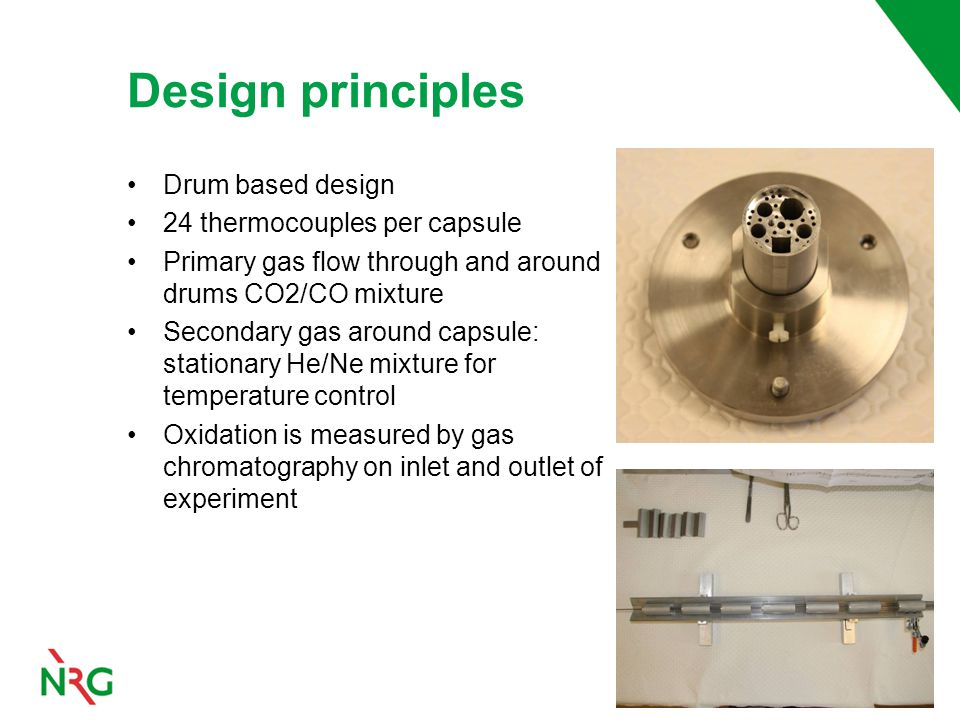 Drum based design 24 thermocouples per capsule Primary gas flow through and around drums CO2/CO mixture Secondary gas around capsule: stationary He/Ne mixture for temperature control Oxidation is measured by gas chromatography on inlet and outlet of experiment Design principles