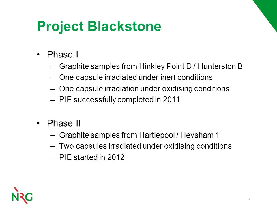 Project Blackstone Phase I –Graphite samples from Hinkley Point B / Hunterston B –One capsule irradiated under inert conditions –One capsule irradiation under oxidising conditions –PIE successfully completed in 2011 Phase II –Graphite samples from Hartlepool / Heysham 1 –Two capsules irradiated under oxidising conditions –PIE started in 2012 7