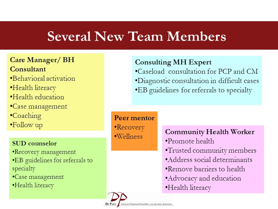 Several New Team Members Care Manager/ BH Consultant Behavioral activation Health literacy Health education Case management Coaching Follow up Consulting MH Expert Caseload consultation for PCP and CM Diagnostic consultation in difficult cases EB guidelines for referrals to specialty SUD counselor Recovery management EB guidelines for referrals to specialty Case management Health literacy Community Health Worker Promote health Trusted community members Address social determinants Remove barriers to health Advocacy and education Health literacy Peer mentor Recovery Wellness