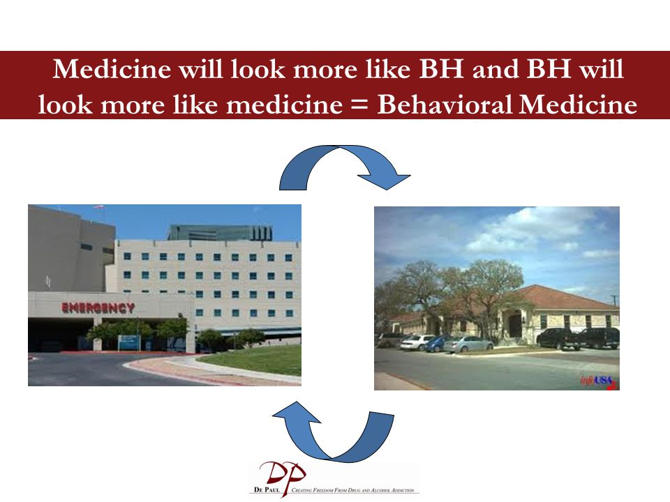 Medicine will look more like BH and BH will look more like medicine = Behavioral Medicine