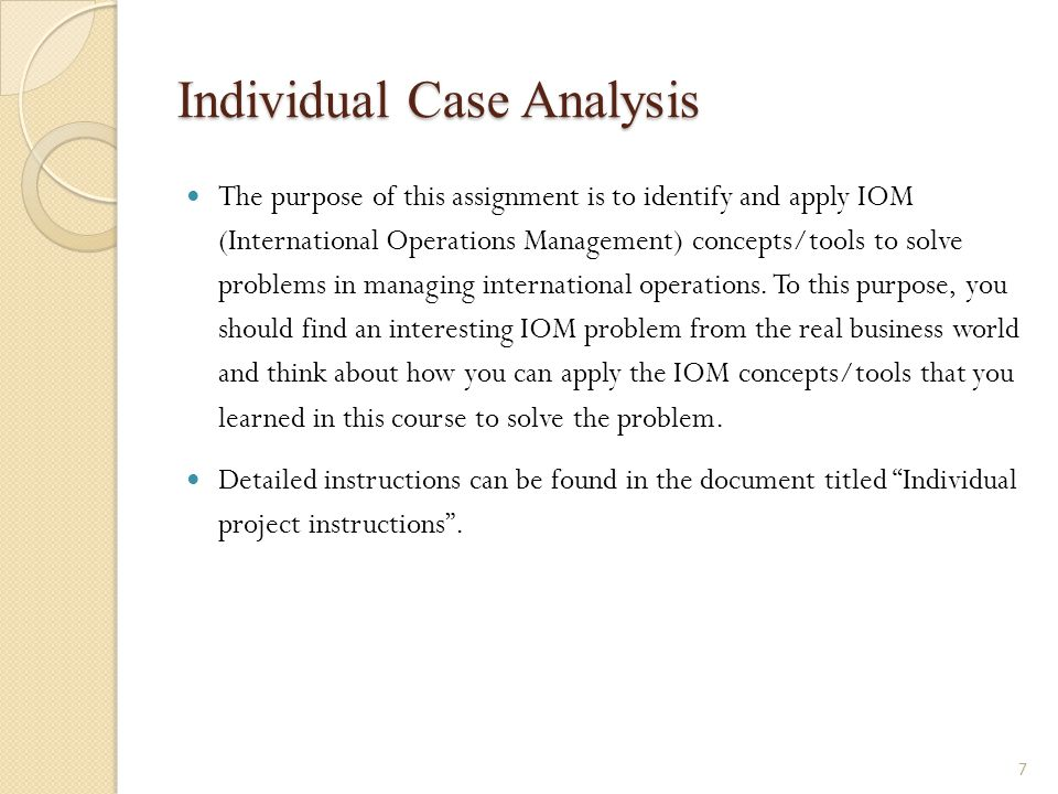 Individual Case Analysis The purpose of this assignment is to identify and apply IOM (International Operations Management) concepts/tools to solve pro
