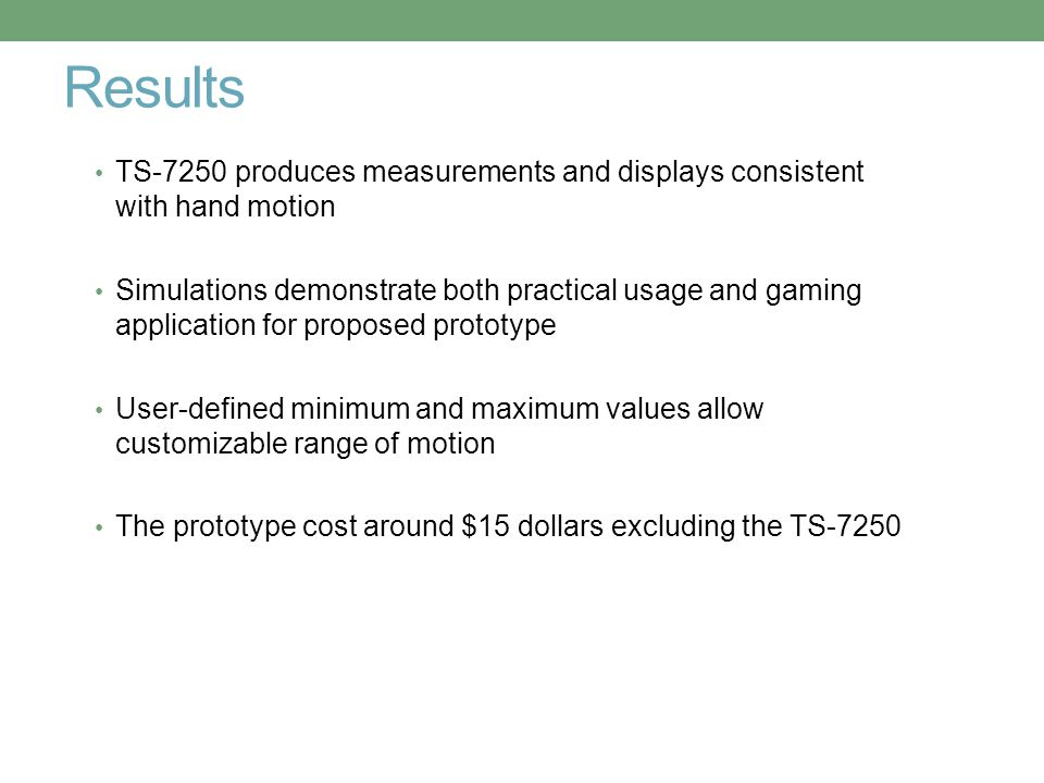 Results TS-7250 produces measurements and displays consistent with hand motion Simulations demonstrate both practical usage and gaming application for