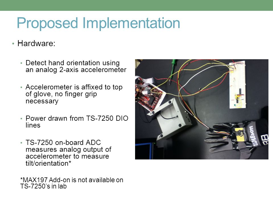 Proposed Implementation Hardware: Detect hand orientation using an analog 2-axis accelerometer Accelerometer is affixed to top of glove, no finger gri