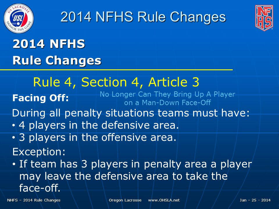 NHFS – 2014 Rule Changes Oregon Lacrosse www.OHSLA.net 2014 NFHS Rule Changes 2014 NFHS Rule Changes During all penalty situations teams must have: 4 players in the defensive area.