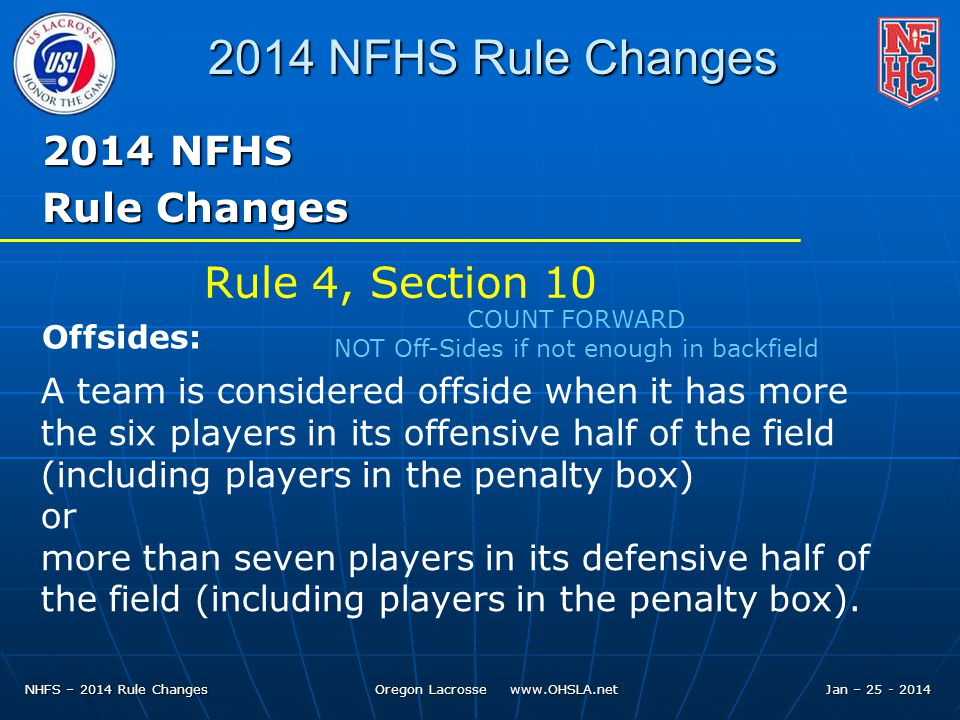 NHFS – 2014 Rule Changes Oregon Lacrosse www.OHSLA.net 2014 NFHS Rule Changes 2014 NFHS Rule Changes A team is considered offside when it has more the six players in its offensive half of the field (including players in the penalty box) or more than seven players in its defensive half of the field (including players in the penalty box).