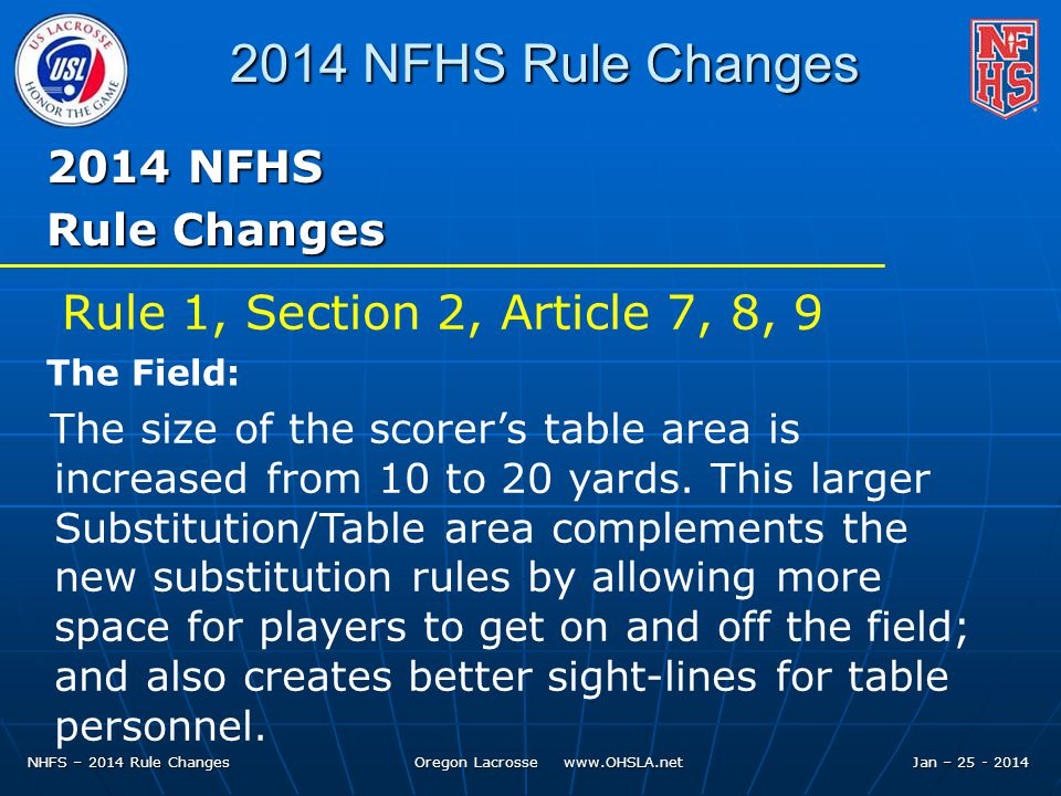 NHFS – 2014 Rule Changes Oregon Lacrosse www.OHSLA.net 2014 NFHS Rule Changes 2014 NFHS Rule Changes The size of the scorer's table area is increased from 10 to 20 yards.