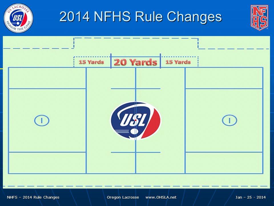 NHFS – 2014 Rule Changes Oregon Lacrosse www.OHSLA.net 2014 NFHS Rule Changes Jan – 25 - 2014