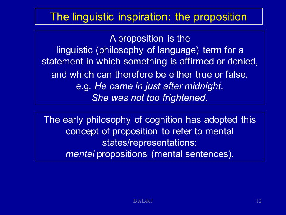 B&LdeJ12 A proposition is the linguistic (philosophy of language) term for a statement in which something is affirmed or denied, and which can therefo