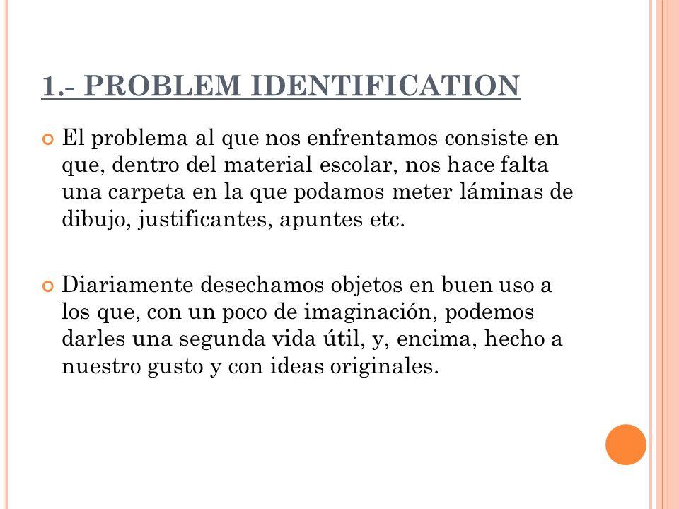 1.- PROBLEM IDENTIFICATION El problema al que nos enfrentamos consiste en que, dentro del material escolar, nos hace falta una carpeta en la que podamos meter láminas de dibujo, justificantes, apuntes etc.