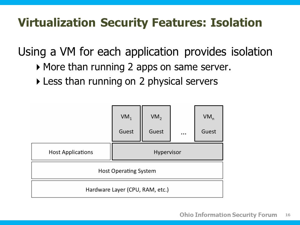 Ohio Information Security Forum Virtualization Security Features: Isolation Using a VM for each application provides isolation  More than running 2 a
