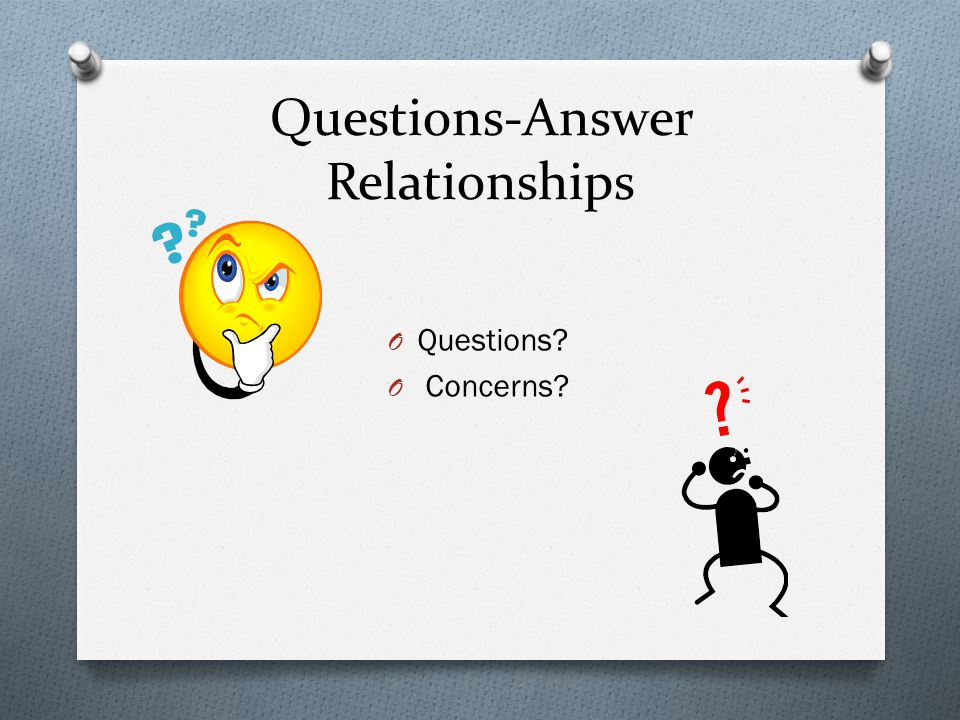 Questions-Answer Relationships O Questions? O Concerns?