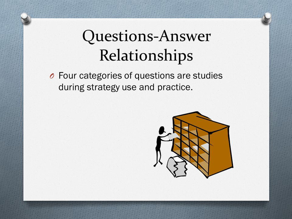 Questions-Answer Relationships: Text-based QAR's O Right There O The answer is in one sentence of the text.