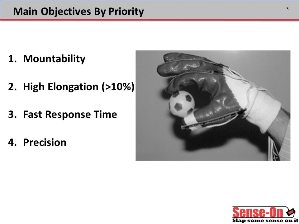3 Main Objectives By Priority 1.Mountability 2.High Elongation (>10%) 3.Fast Response Time 4.Precision