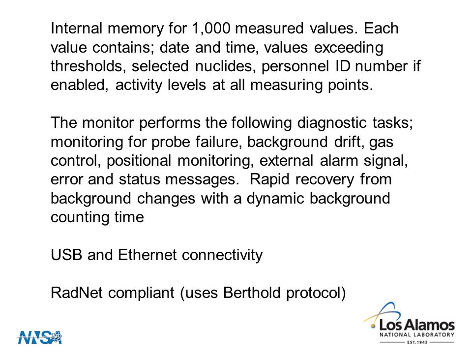 Internal memory for 1,000 measured values.