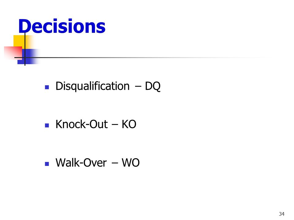 33 Points / Split or Unanimous Technical Knock-Out – TKO Technical Knock-Out Injury – TKO-I 33