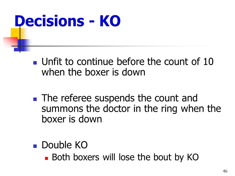 """45 Low Blow DQ 8 - count Boxer can continue = """"Warning """" = Box Boxer cannot continue = 1 ½ min. rest period Boxer can continue = Warning  Box Boxer c"""