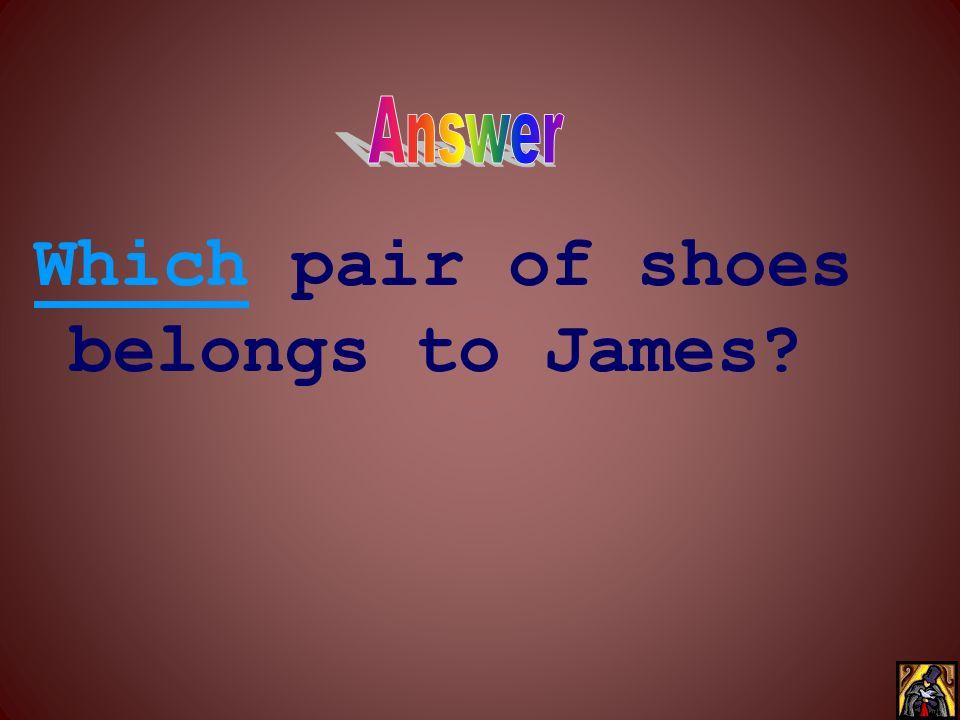 _____ pair of shoes belongs to James?