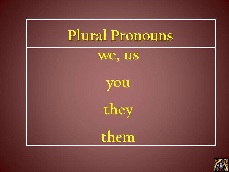 Singular Pronouns I, me you she, he, it him, her, it