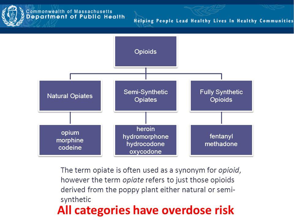 Opioids Natural Opiates opium morphine codeine Semi-Synthetic Opiates heroin hydromorphone hydrocodone oxycodone Fully Synthetic Opioids fentanyl meth